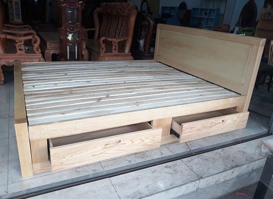 giường ngủ gỗ sồi 1m8 có hộc tủ cao cấp giá rẻ