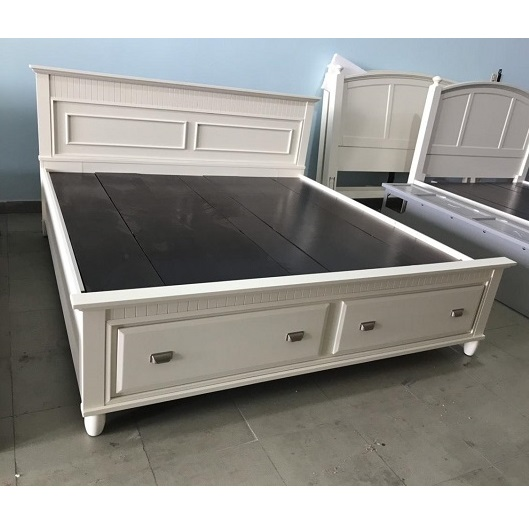 giường KING 1m95 x 2m màu trắng có ngăn kéo