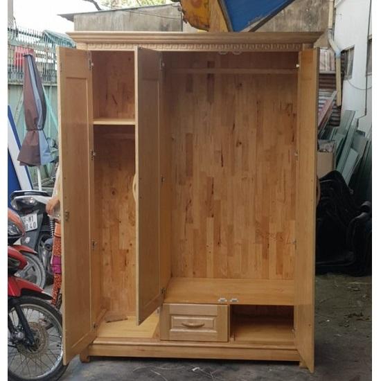 Tủ quần áo gỗ sồi tự nhiên 3 cánh giá rẻ