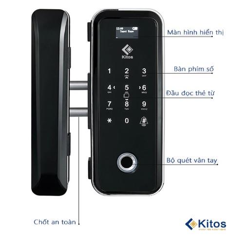 Khóa vân tay mã số thẻ từ cửa kính Kitos KT-GL12